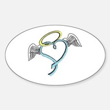 Winged blue angel heart Decal