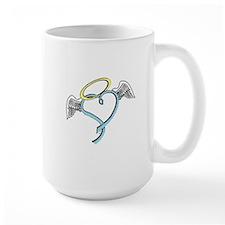 Winged blue angel heart Mug