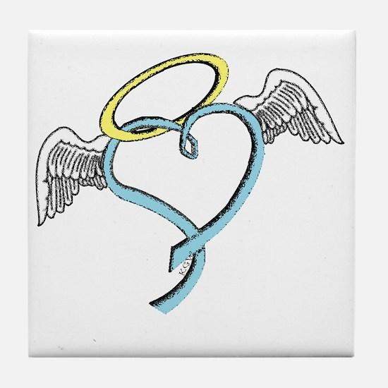 Winged blue angel heart Tile Coaster