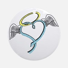Winged blue angel heart Ornament (Round)