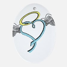 Winged blue angel heart Ornament (Oval)