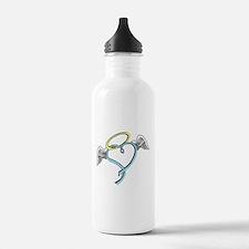 Winged blue angel heart Water Bottle