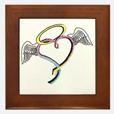 Rainbow angel heart Framed Tile