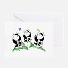 Cows and butterflies Greeting Cards