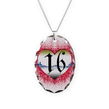 Gothic Heart 16th Necklace Oval Charm