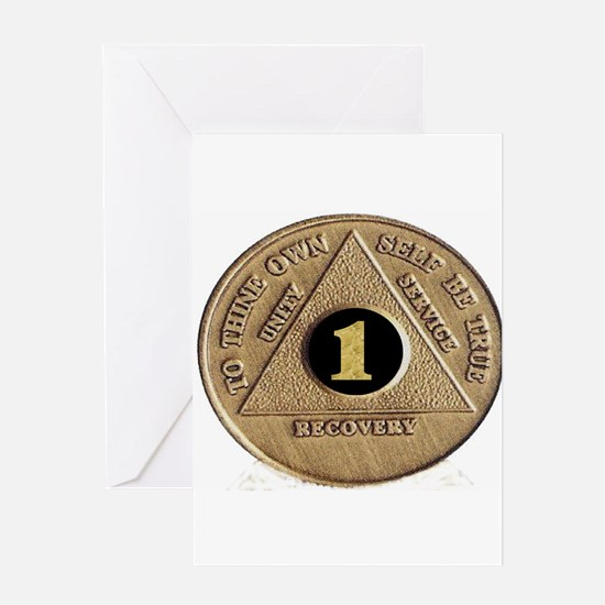 1 YEAR COIN Greeting Card