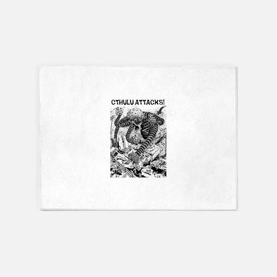 Cthulu Attacks! 5'x7'Area Rug