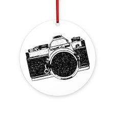 Distressed SLR Camera Ornament (Round)