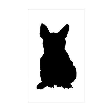 French Bulldog Silhouette Sticker (Rectangle)