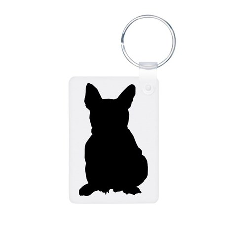 French Bulldog Silhouette Aluminum Photo Keychain