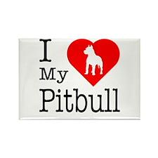 I Love My Pitbull Terrier Rectangle Magnet
