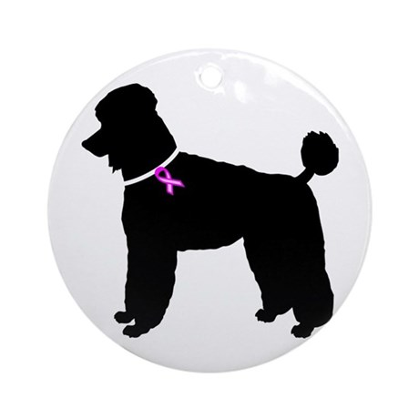 Poodle Breast Cancer Support Ornament (Round)