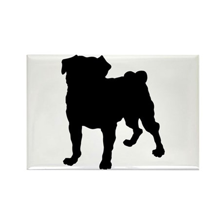 Pug Silhouette Rectangle Magnet