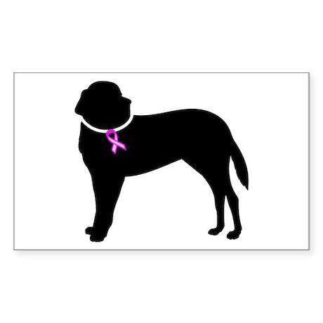 Saint Bernard Breast Cancer Support Sticker (Recta