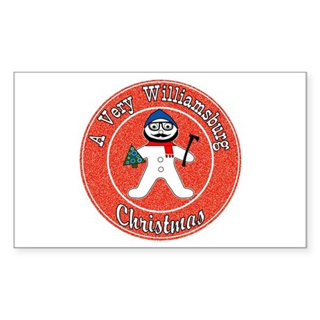 A Very Williamsburg Christmas Sticker (Rectangle)