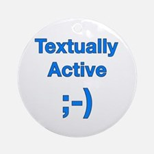 Textually Active Blue Ornament (Round)