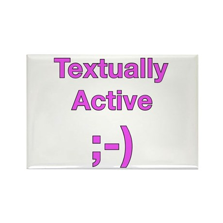 Textually Active Pink Rectangle Magnet