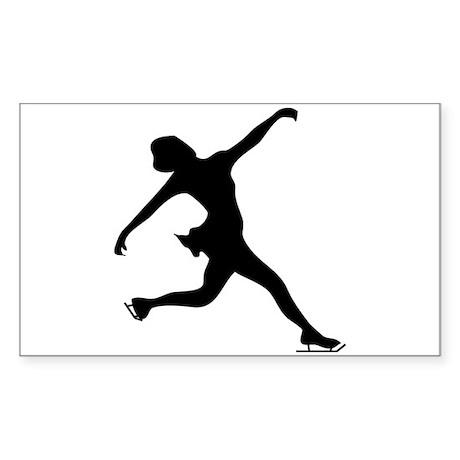 Figure Skating Silhouette Sticker (Rectangle)