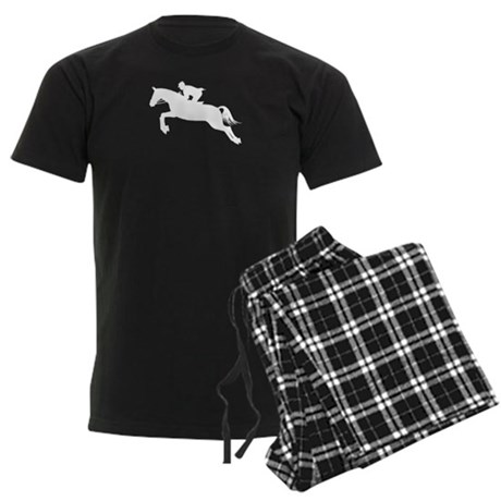 Horse Jumping Silhouette Men's Dark Pajamas