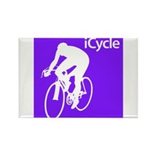 Cycling iCycle Purple Silhouette Rectangle Magnet