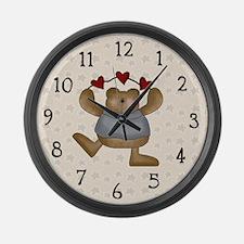 Teddy Bear Hearts Large Wall Clock
