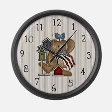 Teddy Bear and Bluebird Large Wall Clock