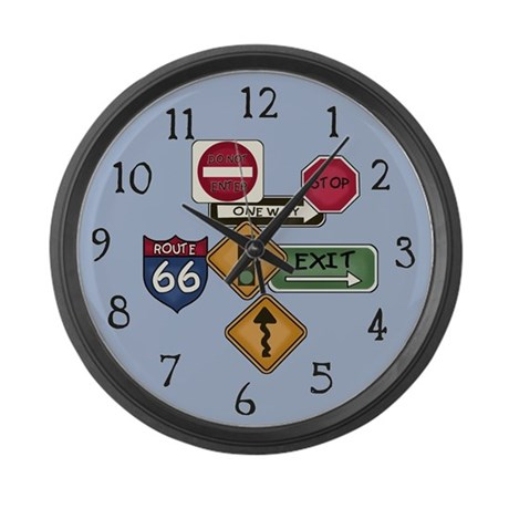Road Signs Large Wall Clock