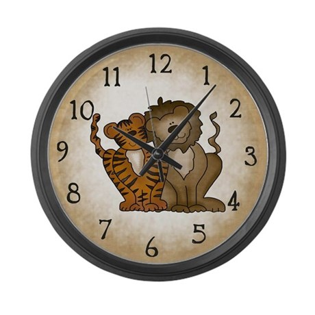 Tiger and Lion Large Wall Clock