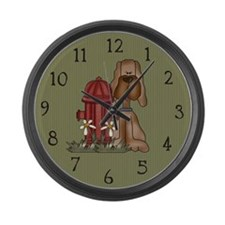 Dog and Fire Hydrant Large Wall Clock