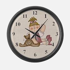 Girl and Teddy Bear Large Wall Clock