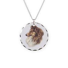 Vintage Sable Collie Necklace Circle Charm