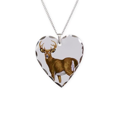 American White Tail Deer Buck Necklace Heart Charm