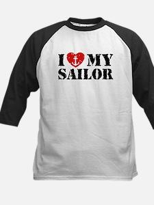 I Love My Sailor Kids Baseball Jersey