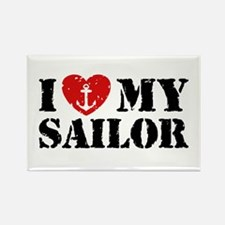 I Love My Sailor Rectangle Magnet