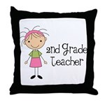 Teacher Present 2nd Grade Throw Pillow