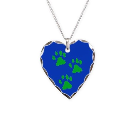 Three Paw Blue Necklace Heart Charm