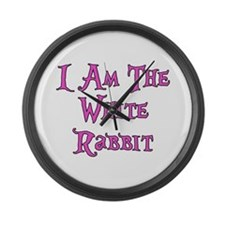 I Am The White Rabbit Follow Me Large Wall Clock