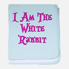 I Am The White Rabbit Follow Me baby blanket