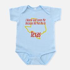 God Loves Me in TX Infant Bodysuit
