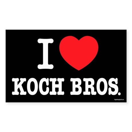 I (heart) KOCH Bros. Sticker (Rectangle)