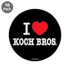"I (heart) KOCH Bros. 3.5"" Button (10 pack)"