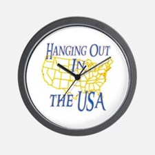 Hanging Out in the USA Wall Clock