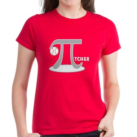 Funny Baseball Pi-tcher Women's Dark T-Shirt