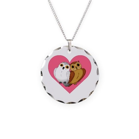 Owl heart Necklace Circle Charm