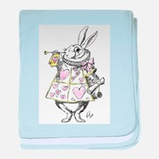 White rabbit baby blanket