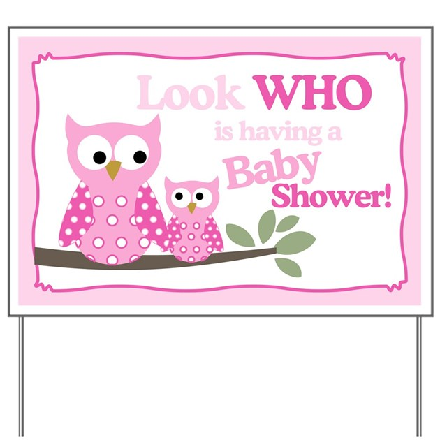 look who 39 s having a baby shower hoot owl yard sign by artbyjessie