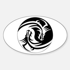 Dragon Ying Yang Sticker (Oval)
