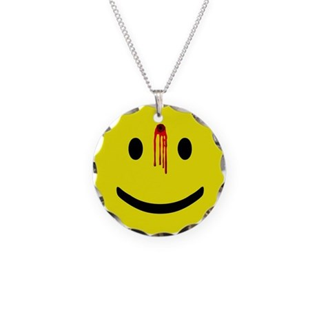 Dead Smiley Necklace Circle Charm