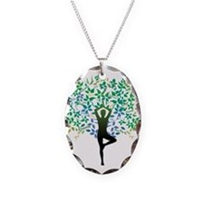 TREE POSE YOGA Necklace Oval Charm