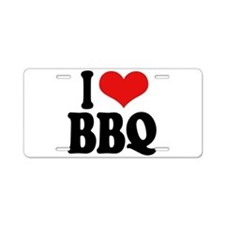 I Love BBQ Aluminum License Plate